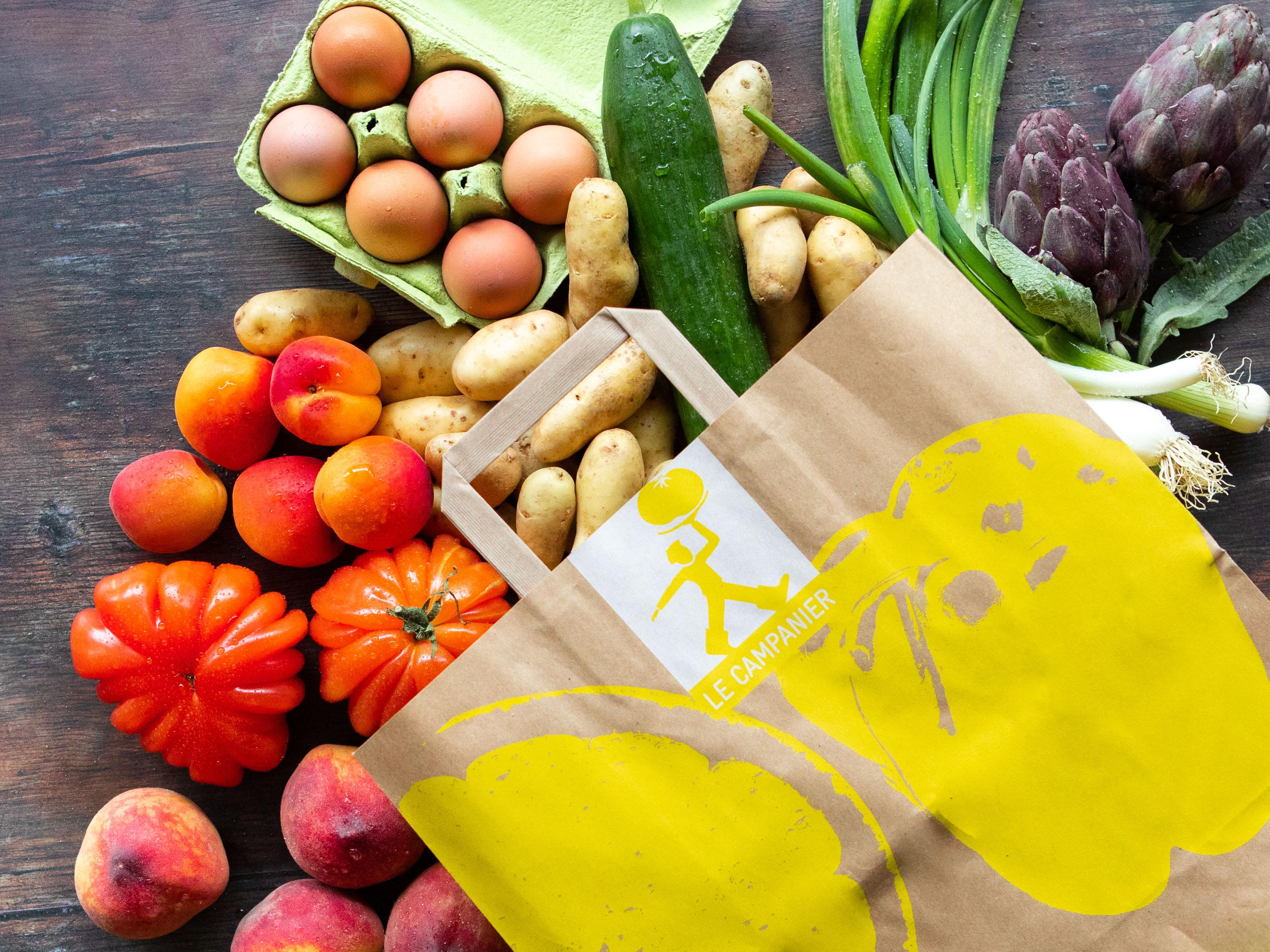 Sac de fruits et légumes et oeufs français bio