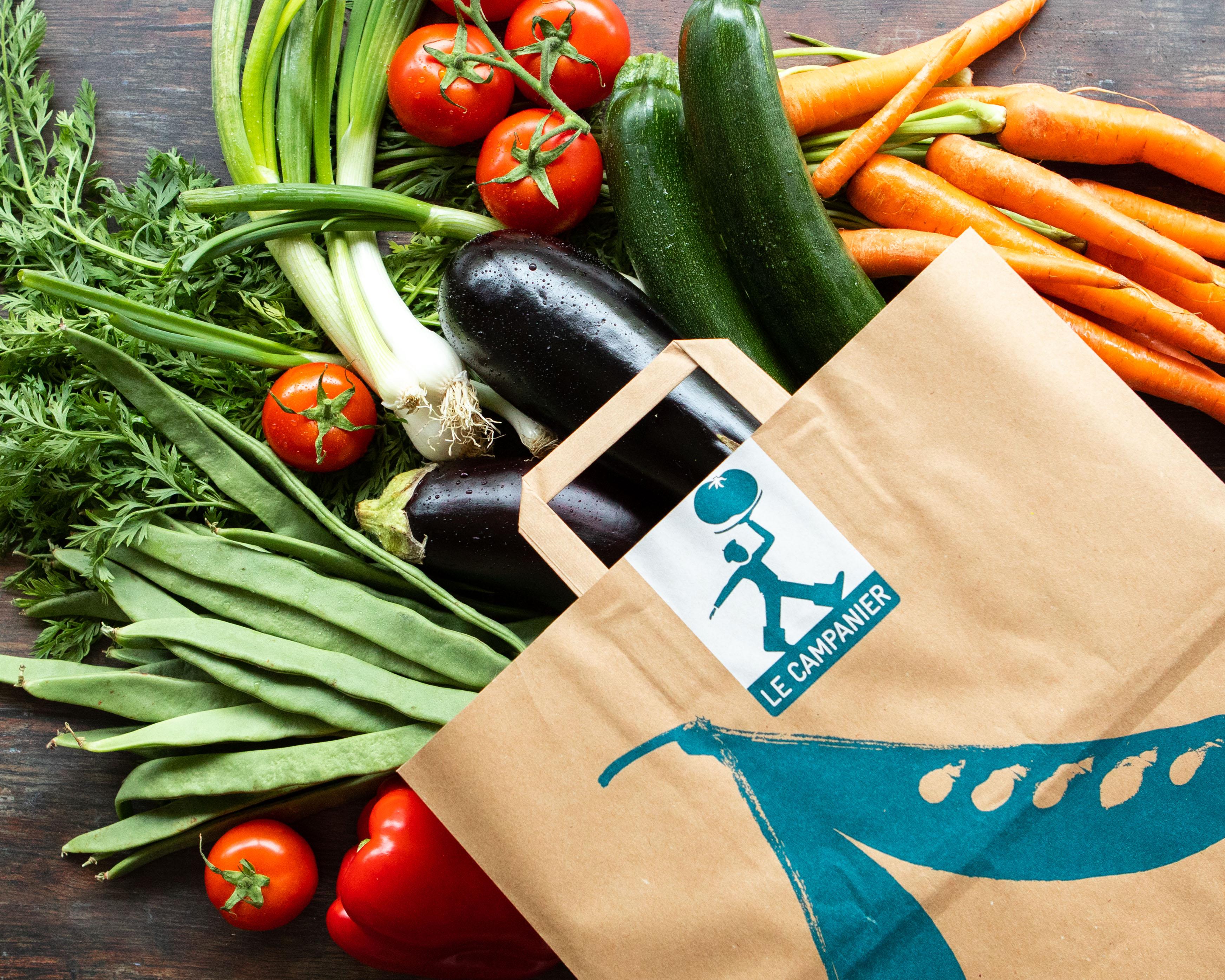 Sac de légumes bio : courgettes, carottes, aubergines, haricots plats, oignons blancs et tomates