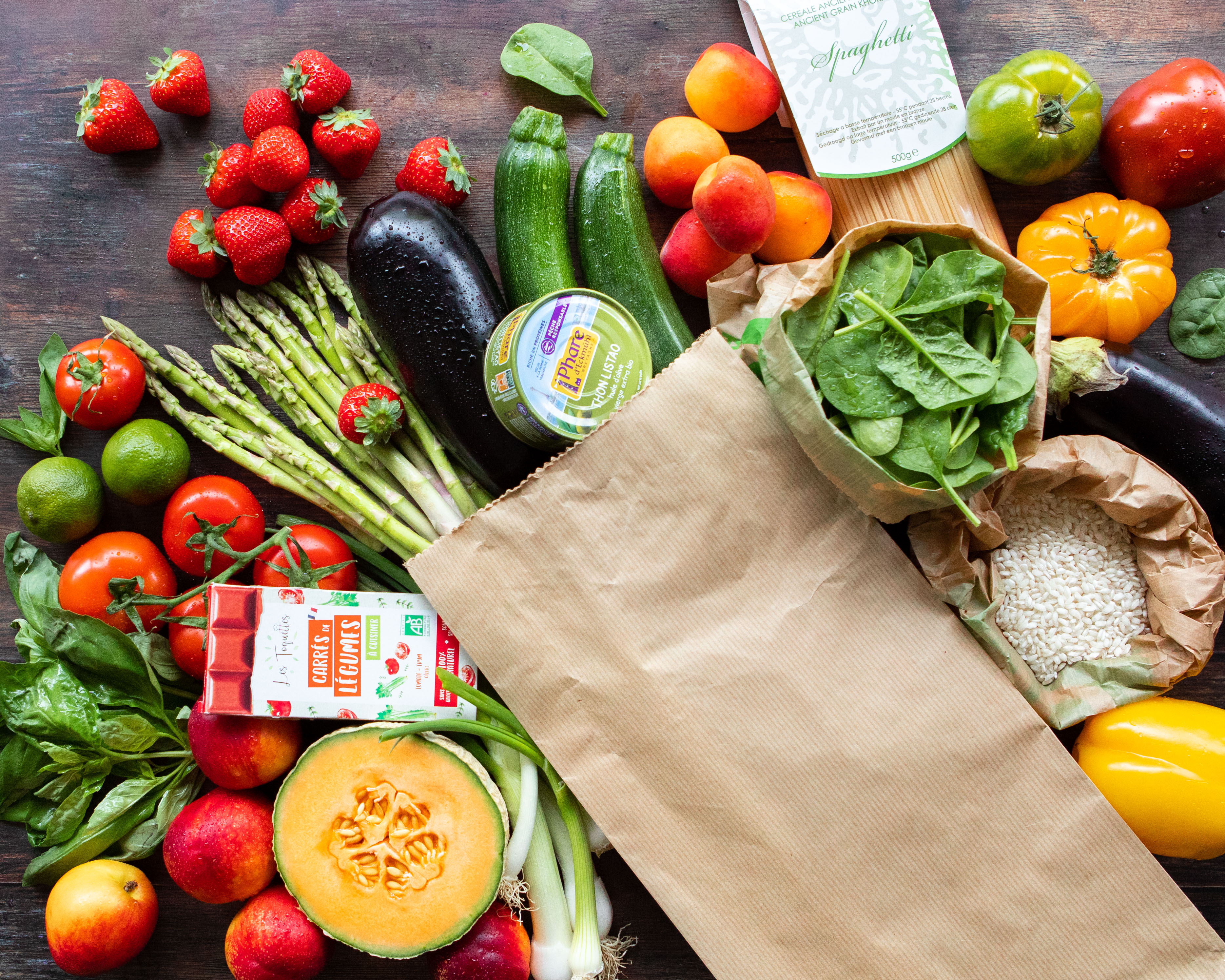 Sac 5 recettes avec fruits, légumes et produits d'épicerie bio